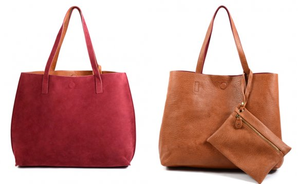 Faux Suede Reversible Tote