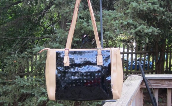 Tan patent leather tote