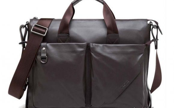 Laptop briefcases men; leather