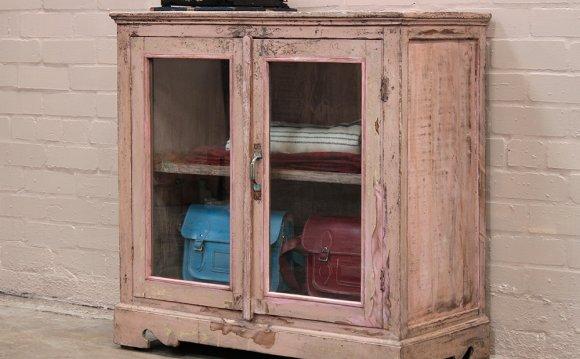 Pink Vintage Glass Cabinet