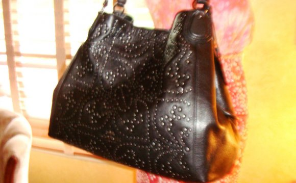 Black Leather Studded Purses