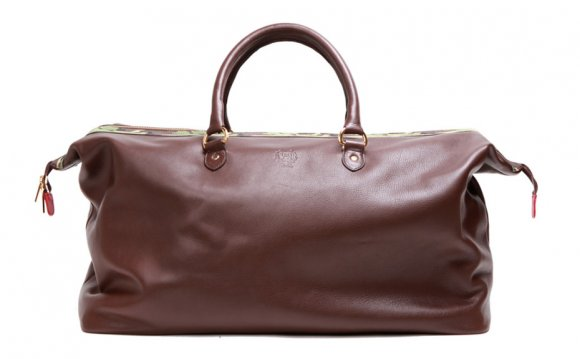 Mens Brown Leather Weekender Bag