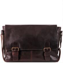 double buckle leather messenger bag image