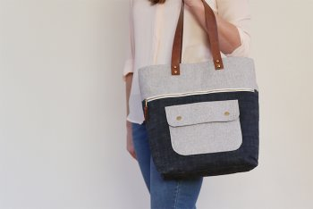 Fabric Bag with Leather handles : Catbags
