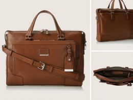 Tumi Astor Regis Slim Leather Briefcase For Men
