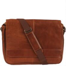 vintage leather messenger bag image